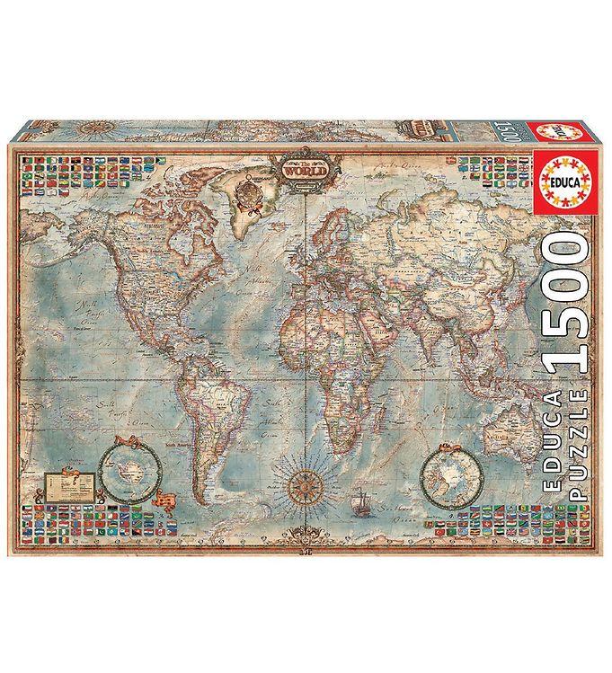 Image of Educa Puslespil - 1500 Brikker - Political Map of the World (VC487)