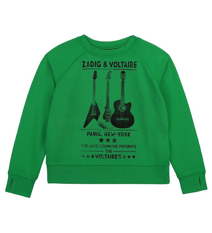 Image of Zadig & Voltaire Sweatshirt - Young Fre - Lime m. Guitar (VD491)