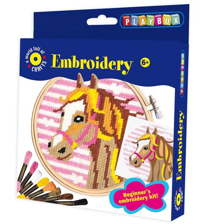 Image of Playbox Kreativt Sæt - Billede Brodering - Hest (XA062)