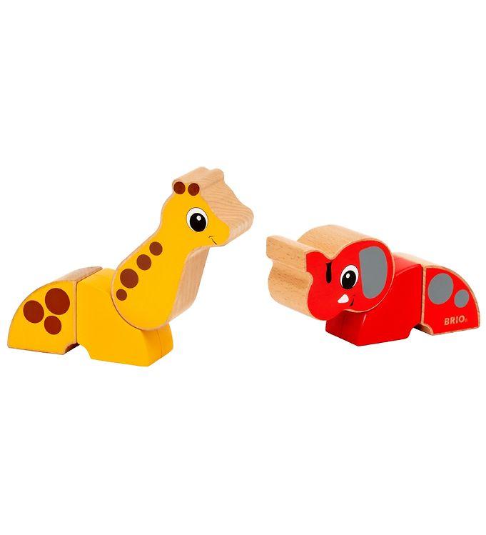BRIO Magnetisk Legetøj - 6 dele - Giraf og Elefant - BRIO,BRIO Trælegetøj - Brio