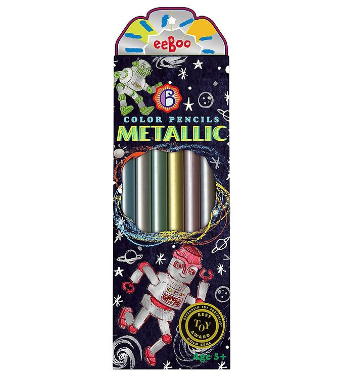 Image of Eeboo Farveblyanter - 6 stk - Metallisk (XA469)