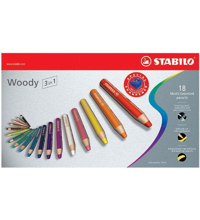 Image of Stabilo Farveblyanter - Woody 3-i-1 - 18 stk. - Multifarvet (XD213)