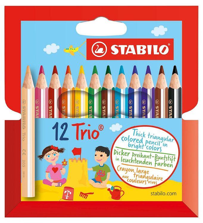 Image of Stabilo Farveblyanter - Trio Thick - Korte - 12 stk. - Multifarv (XD214)