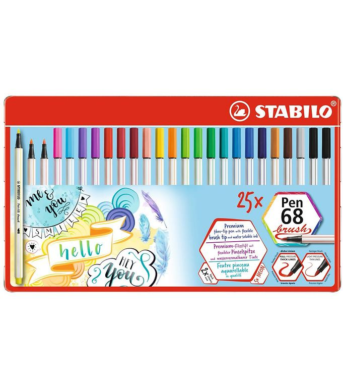 Image of Stabilo Tuscher - Pen 68 Brush - 25 stk. - Multifarvet (XD230)