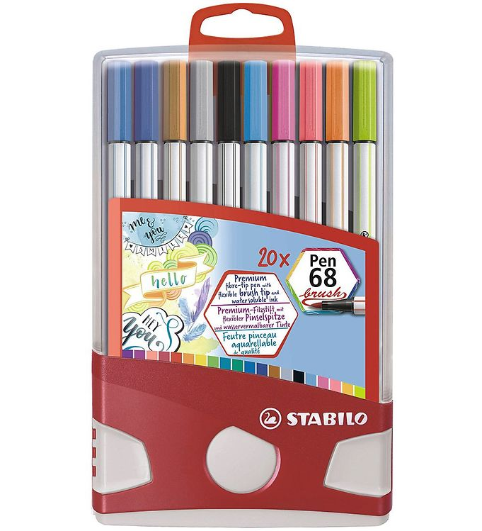 Image of Stabilo Tuscher - Pen 68 Brush - 20 stk. - Multifarvet (XD236)