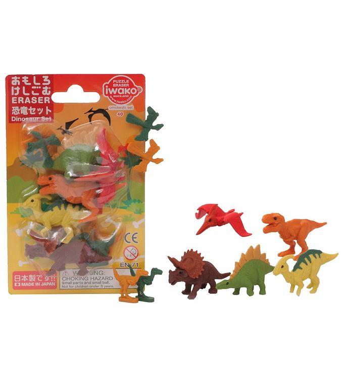 Iwako Viskelædere - Dinosaurer Sæt - 9 Dele