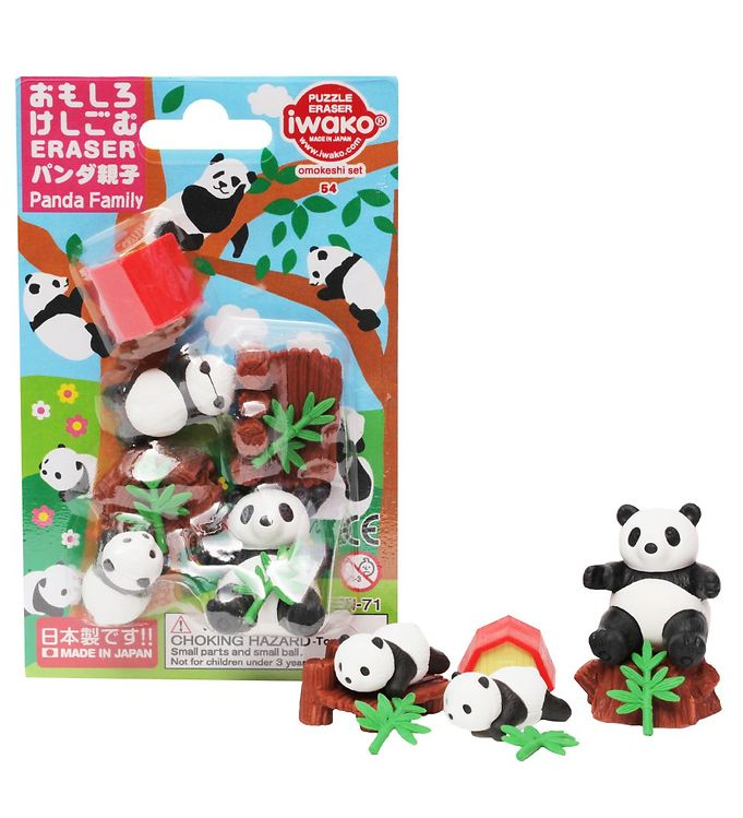 Iwako Viskelædere - Panda Familie - 9 Dele