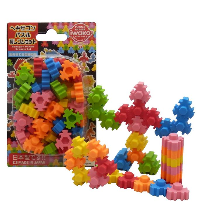 Iwako Viskelædere - Hexagon Puzzle - 36 Dele