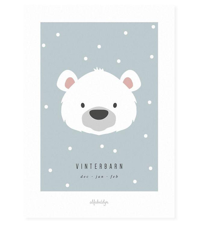 Image of Alfabetdyr Plakat - 21x30 - Vinterbarn (XF247)