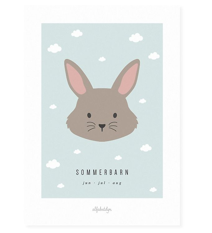 Image of Alfabetdyr Plakat - 30x42 - Sommerbarn (XF252)