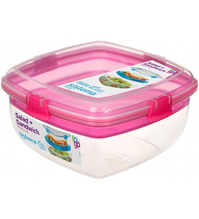Image of Sistema Madkasse - Salad & Sandwich - 1,63 l - Pink (XF313)