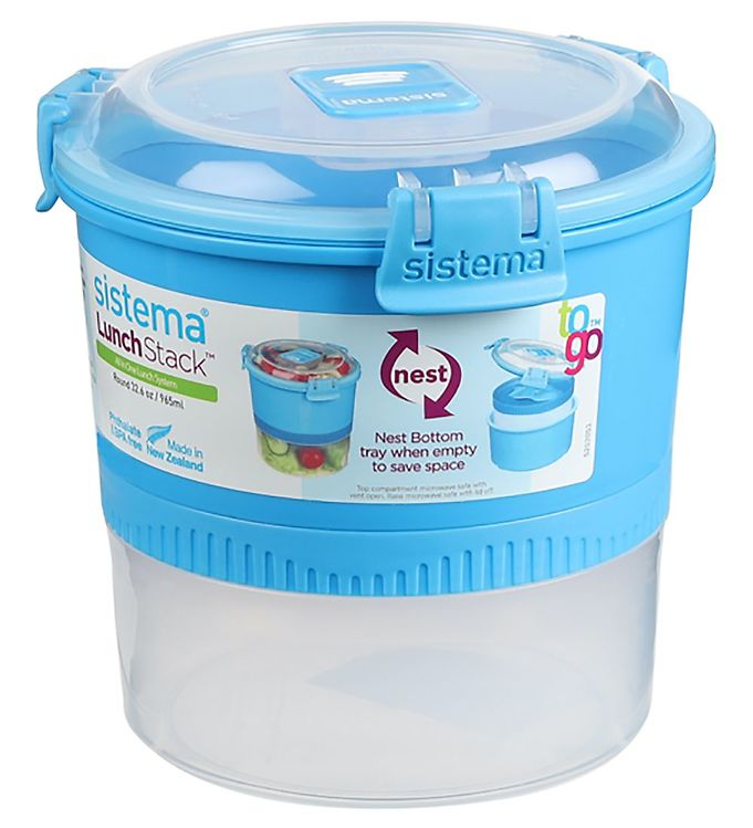 Image of Sistema Madkasse m. Bestik - Lunch Stack - 965 ml - Blå (XF349)