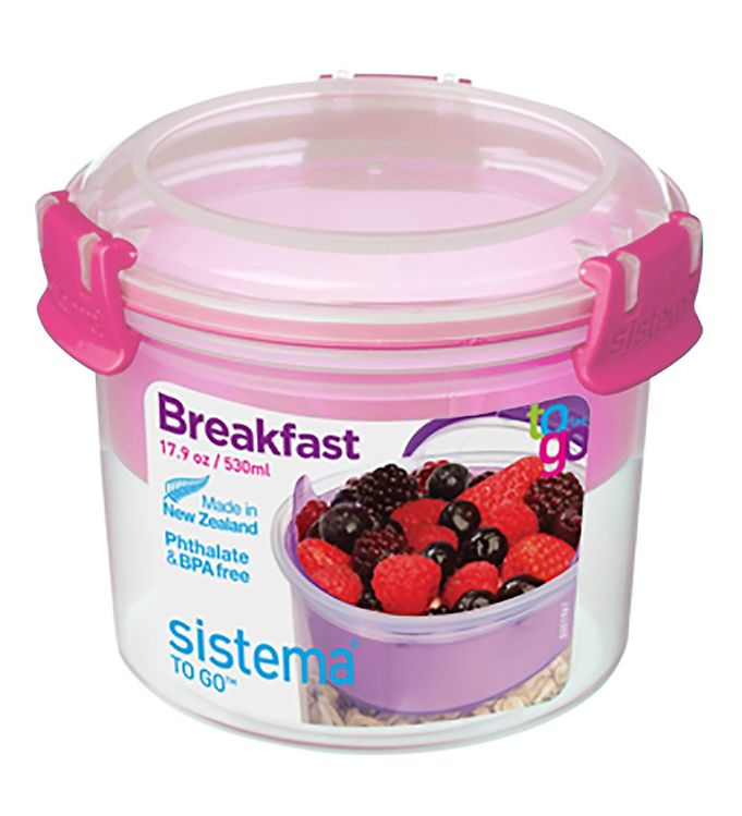 Image of Sistema Madkasse m. Bestik - Breakfast To Go - 530 ml - Pink (XF373)
