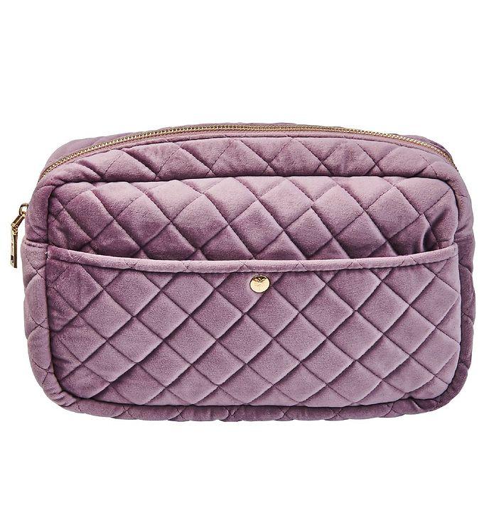 Image of Fan Palm Toilettaske - Large - Quiltet Velour - Dusty Purple (XG042)