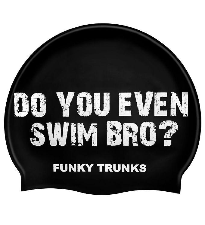 Image of Funkita Badehætte - Swim Bro? - Sort m. Tekst (XG454)