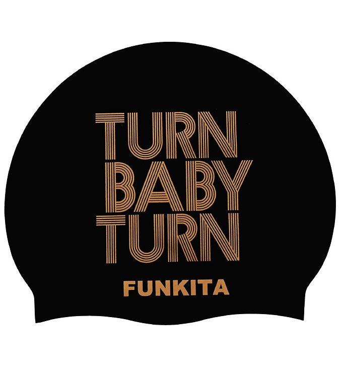 Image of Funkita Badehætte - Turn Baby Turn - Sort m. Tekst (XG472)