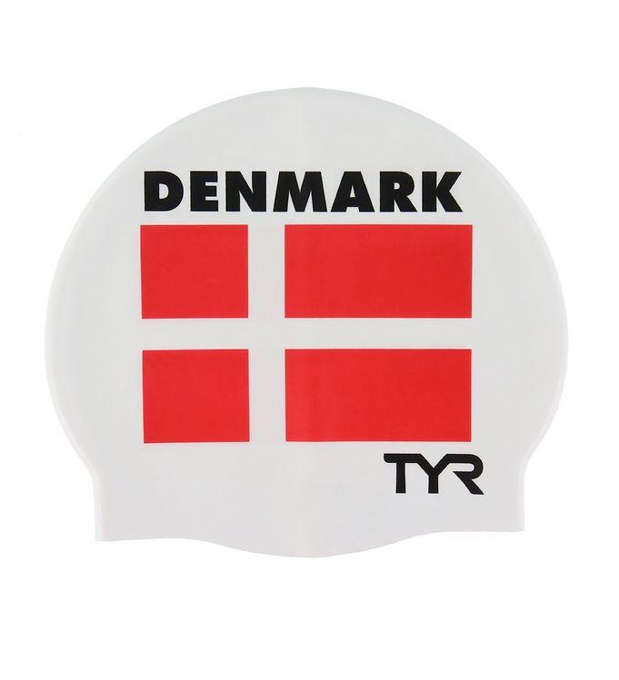 Image of TYR Badehætte - Voksen - Silikone - Hvid m. Dannebrog (XG827)