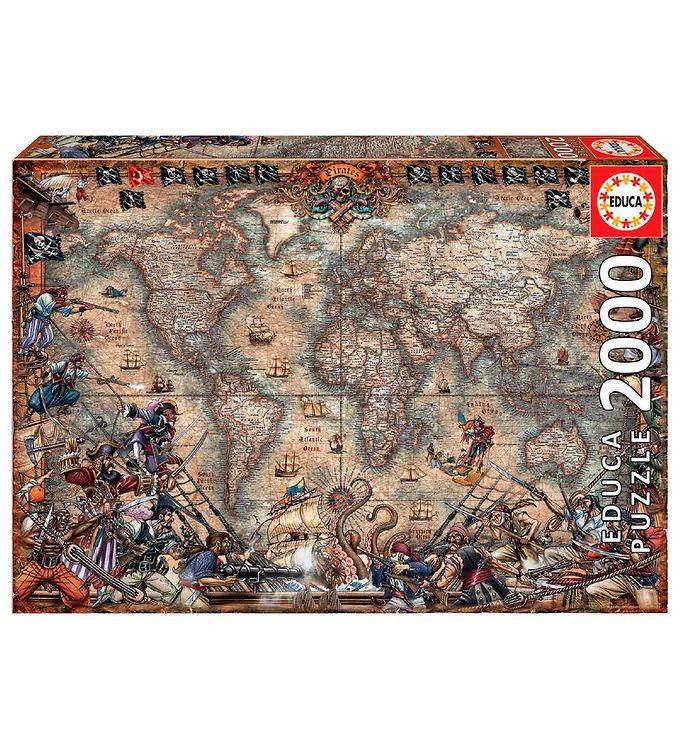 Image of Educa Puslespil - 2000 Brikker - Pirates Map (XH841)