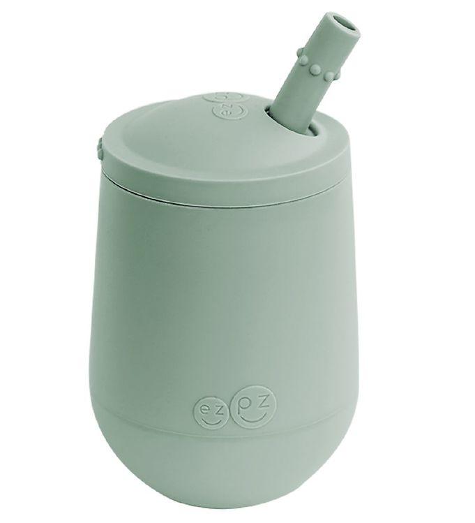 Image of EzPz Mini Cup m. Sugerør - Silikone - Støvet Grøn (XH913)