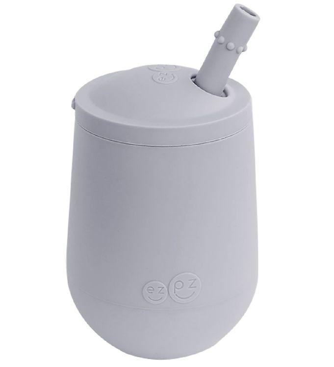 Image of EzPz Mini Cup m. Sugerør - Silikone - Støvet Gråblå (XH915)
