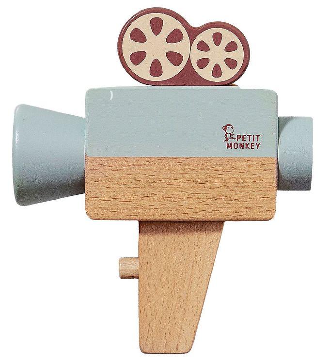 Image of Petit Monkey Filmkamera - Træ - Blå (XH954)