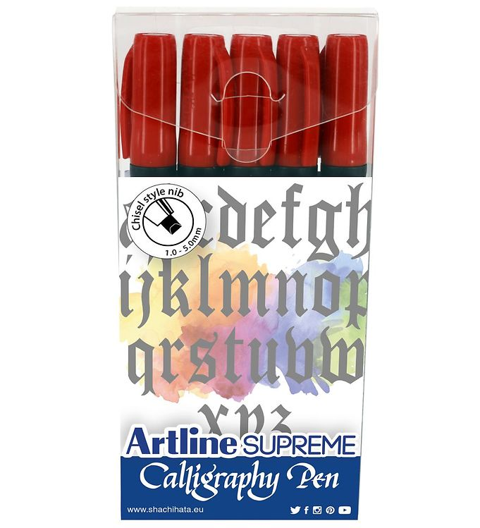 Image of Artline Tuscher - Supreme Calligraphy Pen - 5 stk. - Rød (XI032)