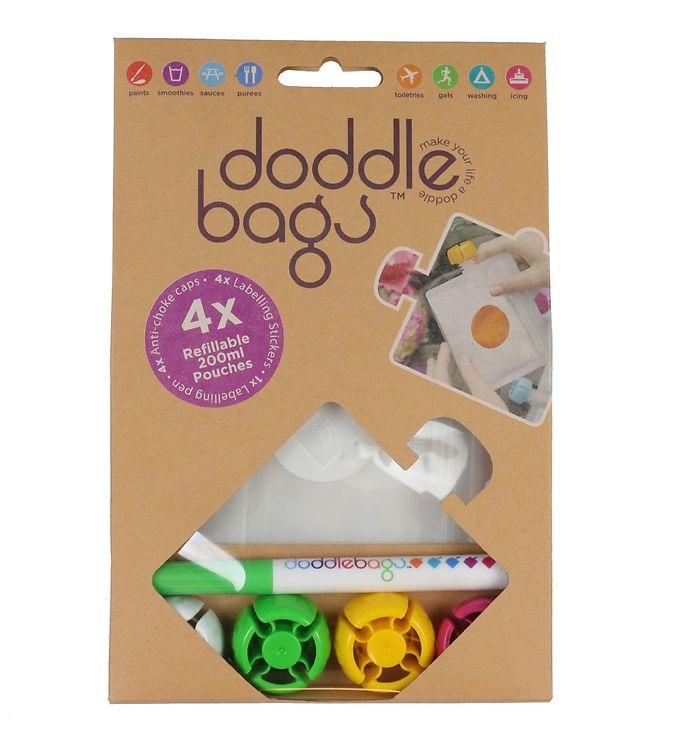 Image of Doddlebags Fødevareposer - 4-pak - 200 ml - Inklusiv Retail Pen (XI969)