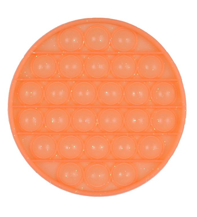 Image of Push Pop Bubble Legetøj - 12,5 cm - Rund - Orange m. Glimmer (YO396)