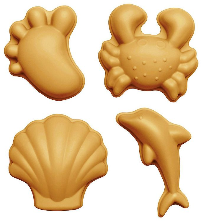 Image of Scrunch Sandforme - 4 stk. - Silikone - 6,5-10,5 cm - Mustard (YO433)