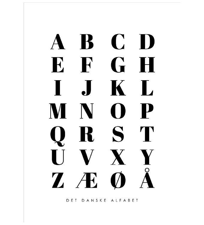 Image of Citatplakat Plakat - A3 - Alfabet Plakat - Hvid (YP772)