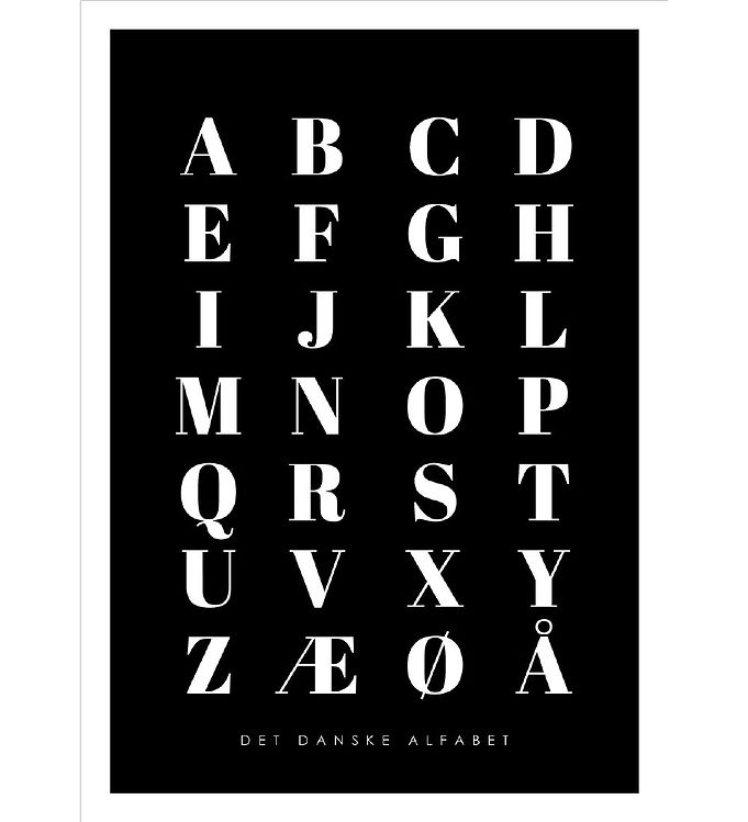 Image of Citatplakat Plakat - A3 - Alfabet Plakat - Sort (YP774)
