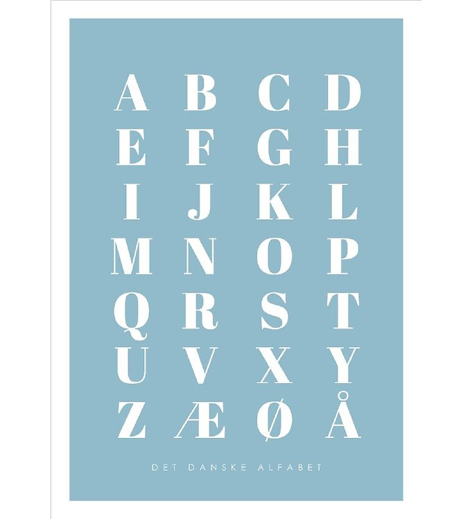 Image of Citatplakat Plakat - A3 - Alfabet Plakat - Blå (YP775)
