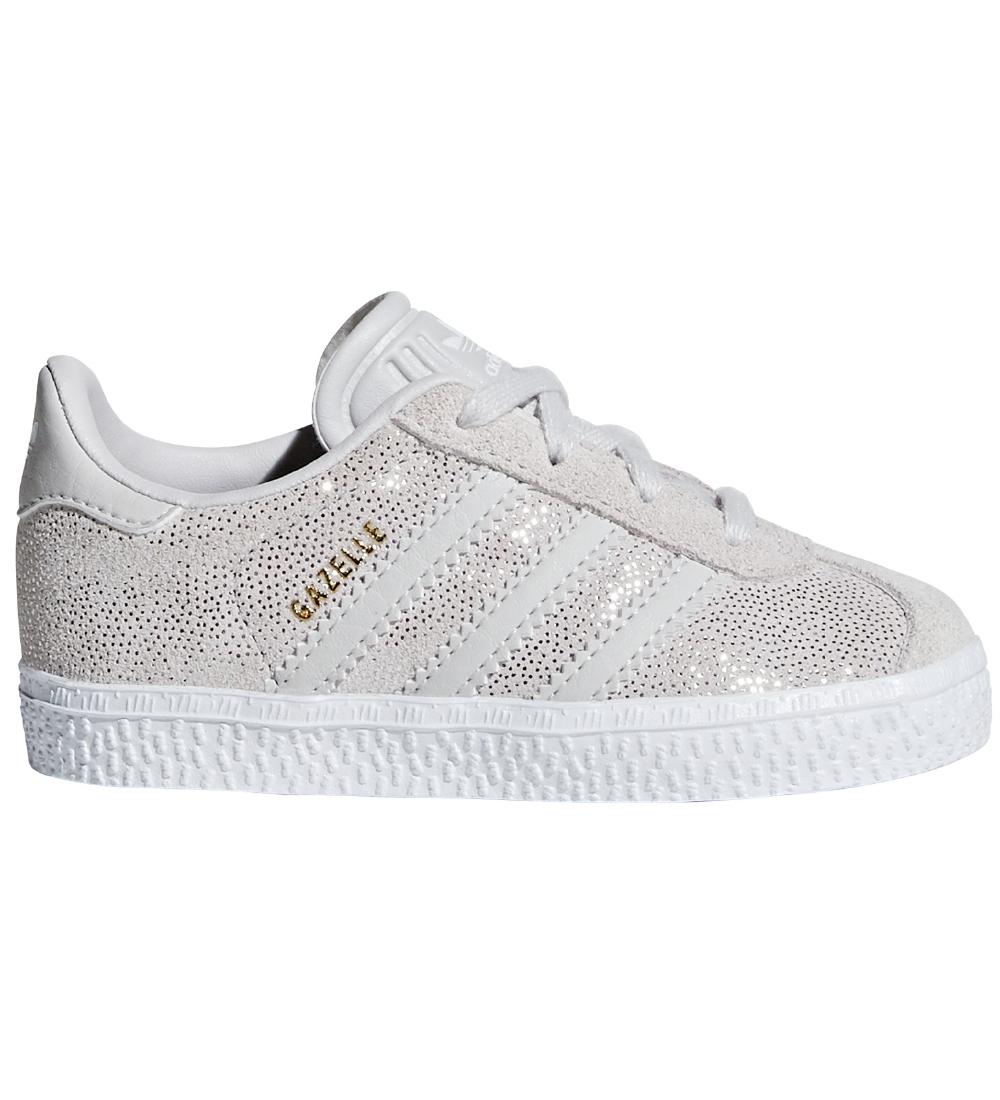 adidas Originals Sko Gazelle Hvid m. Sølv Prikker